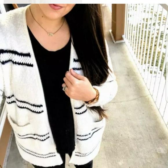 01eaac1fb Madewell Sweaters | Striped Boucl Cozy Cardigan Sweater L | Poshmark